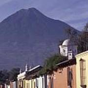 Antigua Street With Volcano Poster