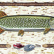 Antique Birch Pike And Lure Poster by JQ Licensing