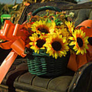 Antique Buggy And Sunflowers Poster