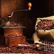 Antique Coffee Grinder With Beans Poster by Sandra Cunningham