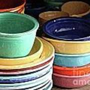 Antique Fiesta Dishes I Poster by Marilyn West