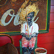 Antique Plaster Black Child Fisherman With Coca Cola Background Poster