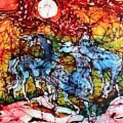 Appaloosas On A Fiery Night Poster by Carol Law Conklin