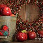 Apples In Wood Bucket For Holiday Baking Poster