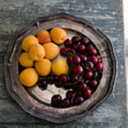 Apricots And Cherries On Silver Tray Poster