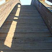 Arched Pedestrian Bridge At Martinez Regional Shoreline Park In Martinez California . 7d10525 Poster