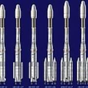 Ariane 4 Rocket Versions, Artwork Poster by David Ducros