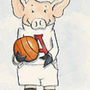 Arkansas Razorbacks - Basketball Piggie Poster by Annie Laurie