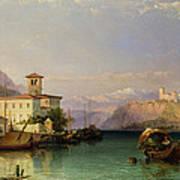 Arona And The Castle Of Angera Lake Maggiore Poster