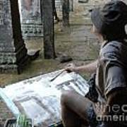 Artist At Ankor Wat Poster