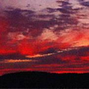 Artistic Sunset Over Hudson River Poster
