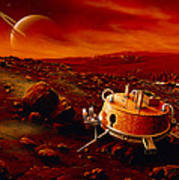 Artwork Of Huygens Probe On The Surface Of Titan Poster