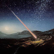 Artwork Of Meteorite Hitting The Ground Poster