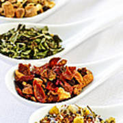 Assorted Herbal Wellness Dry Tea In Spoons Poster