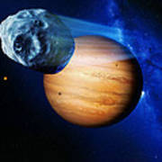 Asteroid Passing Jupiter Poster by Detlev Van Ravenswaay