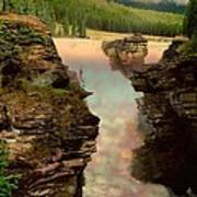 Athabasca Falls Evening Poster