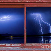 August Storm Red Barn Picture Window Frame Photo Art View Poster