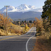 Autumn And Mt Shasta Down The Road Poster