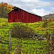 Autumn Barn Painted Poster