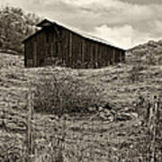 Autumn Barn Sepia Poster