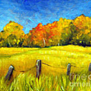 Autumn Farm Field Poster