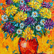 Autumn Flowers Gorgeous Mums - Original Oil Painting Poster