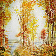 Autumn Forest Falling Leaves Poster
