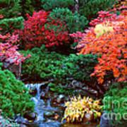 Autumn Garden Waterfall II Poster