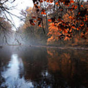 Autumn Morning By Wissahickon Creek Poster