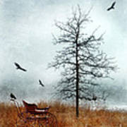 Baby Buggy By Tree With Nest And Birds Poster by Jill Battaglia