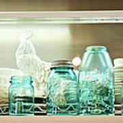Ball Jars And White Rooster Poster