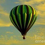 Balloon Ride Through Gold Clouds Poster