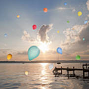 Balloons Floating Over Still Lake Poster