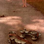 Barefoot Girl On Sidewalk With Roller Skates Poster