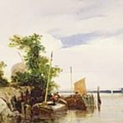 Barges On A River Poster by Richard Parkes Bonington