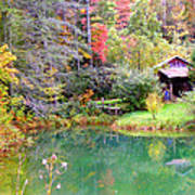 Barn And Pond In The Fall Poster