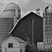 Barn And Silos In Black And White Poster