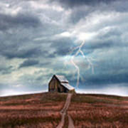 Barn In Lightning Storm Poster