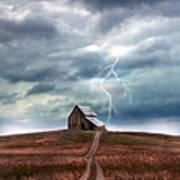 Barn In Lightning Storm Poster