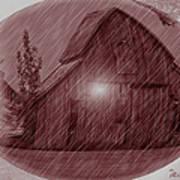 Barn Snow Globe Poster
