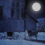 Barn Under A Full Moon Poster
