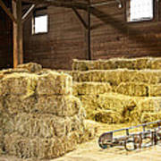 Barn With Hay Bales Poster