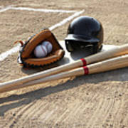 Baseball Glove, Balls, Bats And Baseball Helmet At Home Plate Poster
