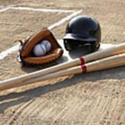 Baseball Glove, Balls, Bats And Baseball Helmet At Home Plate Poster by Thomas Northcut