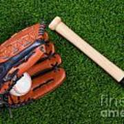 Baseball Glove Bat And Ball On Grass Poster