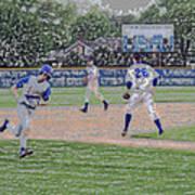 Baseball Runner Heading Home Digital Art Poster