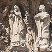 Basilica Sagrada Familia Nativity Facade Detail Poster by Matthias Hauser