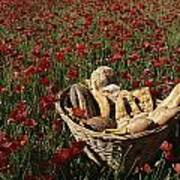 Basket Of Bread In A Poppy Field Poster