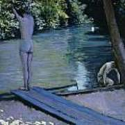 Bather About To Plunge Into The River Yerres Poster