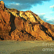 Beach Cliff At Sunset Poster